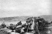 This picture shows one of the 21 cm guns at Kvarven